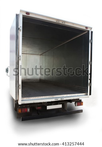 open metal empty container of the truck - stock photo
