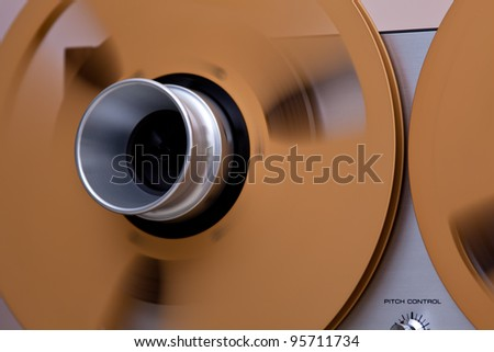 Open Metal Reels WithTape For Professional Sound Recording with NAB adapters - stock photo