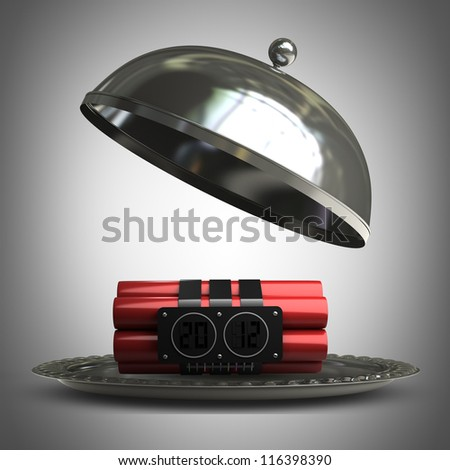 open metal silver platter or cloche with Explosives alarm clock  3d render