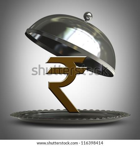 open  metal silver platter or cloche with Indian rupee symbol 3d render - stock photo