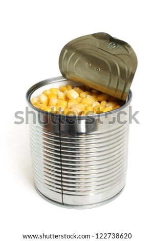 Open metallic can with sweet corn on a white background - stock photo