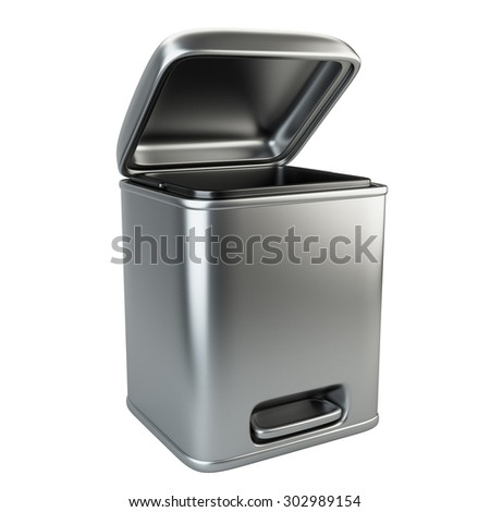 Open metallic trash can. 3D image isolated on white background - stock photo
