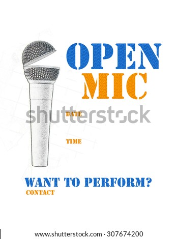 Open mic poster with blue and orange stencil style wording - stock photo