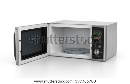 Open microwave oven isolated on a white background. 3D illustration - stock photo