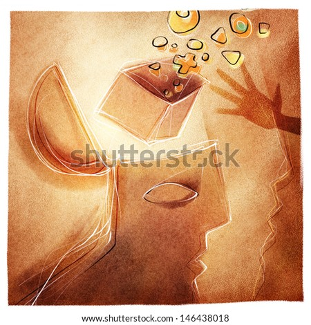 open mind /head, stylized illustrated metaphor for help, creativity, social issues etc. - stock photo
