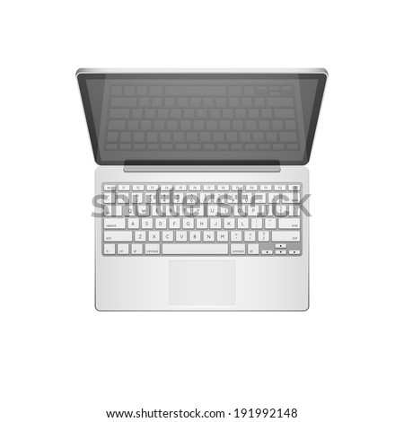 Open modern laptop, top view illustration object - stock photo