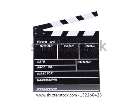 Open movie clapper board isolated on white