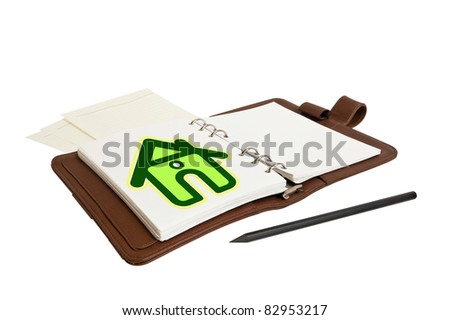 Open notebook and a pencil - stock photo