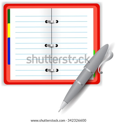 Open Notebook and Grey Pen Isolated on White Background - stock photo