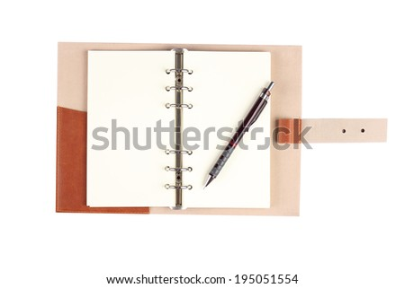 Open notebook and pen isolated on white background , isolated on white  - stock photo