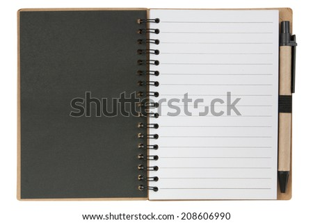 Open notebook and pen. isolated on white,  file includes a excellent clipping path - stock photo