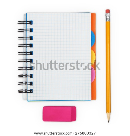 open notebook and pencil with eraser on a white background