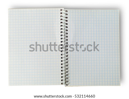 Open notebook for notes isolated on white background