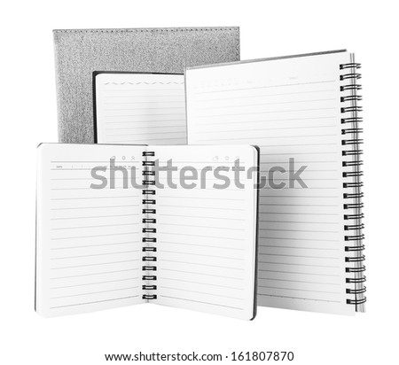 Open notebook isolated on white - stock photo