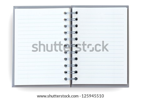 Open notebook on white background. - stock photo