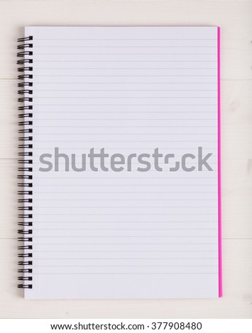 Open notebook with a blank page