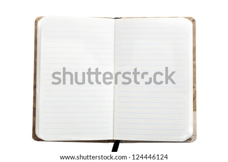 Open notebook with bookmark, isolated on white - stock photo