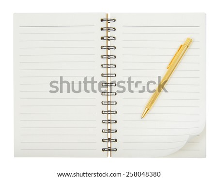 Open notebook with pen resting on an isolated white background. - stock photo