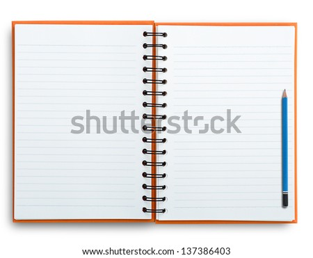 Open notebook with pencil isolated on white, clipping path.