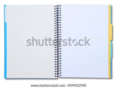 Open notebook with shadow on right side isolated on white background - stock photo