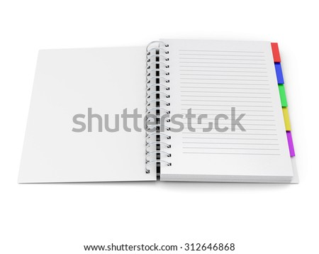 Open notebook with tabs on the spring isolated on white background. 3d render image. - stock photo