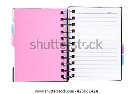 Open notebook with white lined pages isolated on white background, Saved clipping path. - stock photo