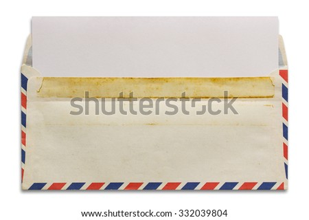 open old airmail envelope with blank letter isolated on white background - stock photo