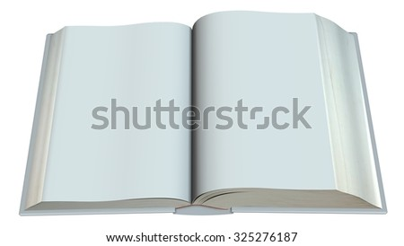 open old blank book isolated on white background