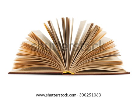 Open old book isolated on a white background