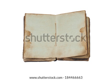 Open old book isolated on white background. Vintage paper page spread.