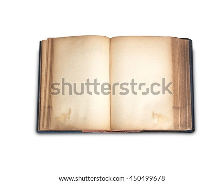 open old book on white background art. - stock photo