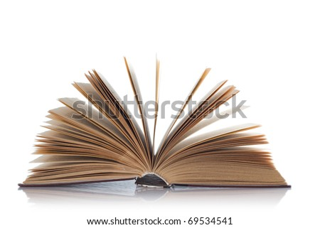 Open old book on white background. Isolated.