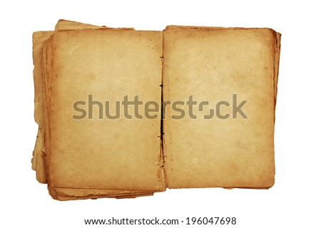 Open old book with blank pages for text isolated on white background - stock photo