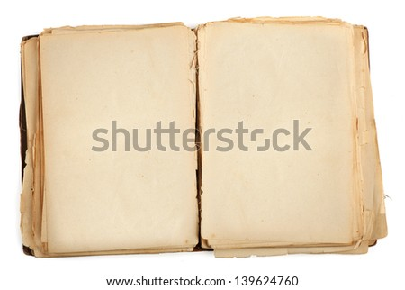 open old book with blank yellow stained pages. Isolated on white - stock photo