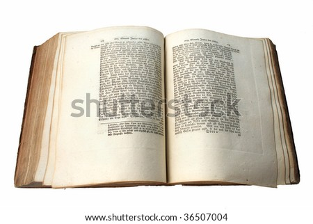 Open old book with Gothic script in German, isolated