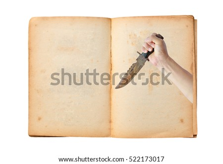 Open old book with image of Hand holding rusty old knife isolated on white background