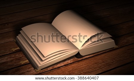 open old leather book with metal claps on wooden table in candlelight