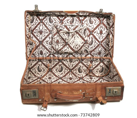 Open old leather suitcase - stock photo