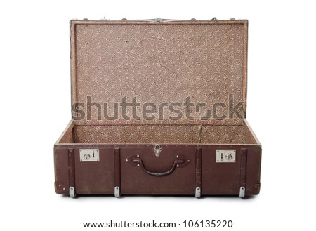 Open old suitcase isolated on white background - stock photo