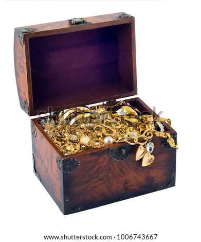 Open old wood vintage brown Chest treasure trunk with gold heart frame jewellery isolated white background