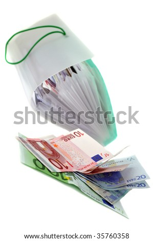Open organizer full of bills and european banknotes, isolated on white
