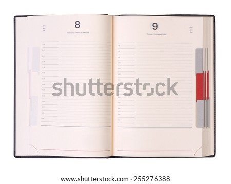 Open organizer isolated on white background - stock photo