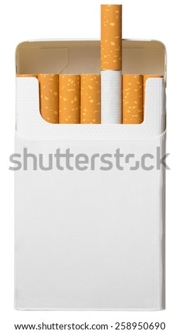 open pack of cigarettes isolated on white background with clipping path included - stock photo