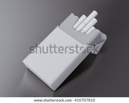 Open pack of cigarettes  on grey  background. 3D rendering. High resolution.