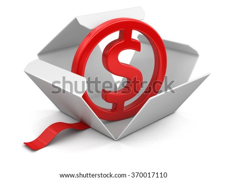 Open package with dollar sign. Image with clipping path