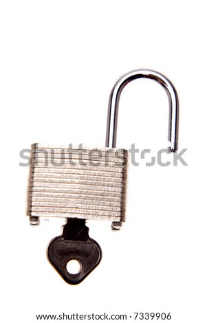 Open padlock and key isolated over white