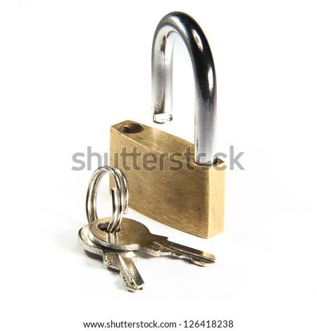 open padlock and keys on white background - stock photo