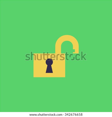 Open padlock. Colorful retro flat icon - stock photo