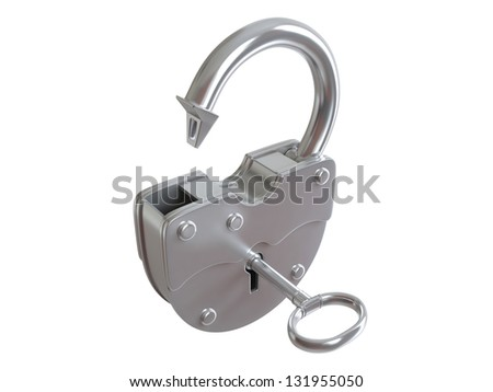 Open Padlock on white background. 3D rendered illustration - stock photo