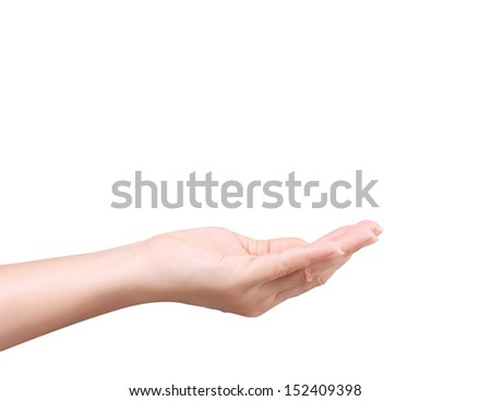 Open palm a hand gesture isolated on the white white  - stock photo